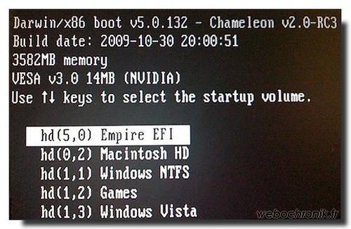 Hackintosh-Installer MacOS sur PC-Boot-Empire EFI