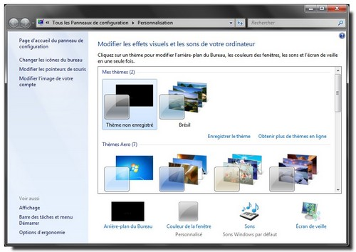 Windows7 personnalisation du bureau