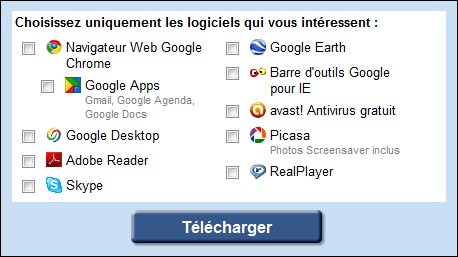 Google Pack- Selection Google de Logiciels pour Windows 7