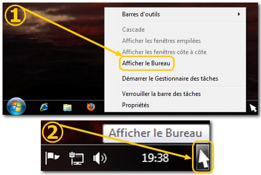 Windows 7 Fonction Aero Peek Afficher le Bureau