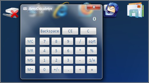 Applications transparentes gratuite pour Windows 7 et Windows vista - Calculatrice