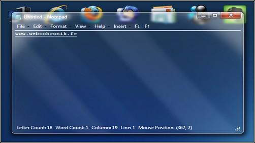 Applications transparentes gratuite pour Windows 7 et Windows vista - Notepad - Bloc note