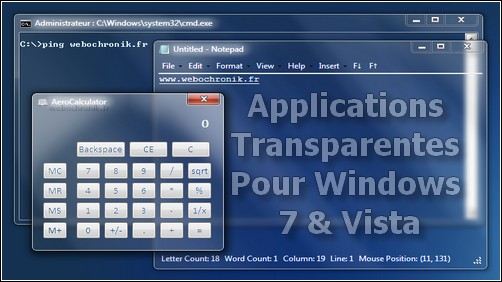 Applications transparentes gratuite pour Windows 7 et Windows vista