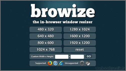 Browize - outil en ligne pour redimensionner et tester la résolution de votre site dans votre navigateur internet -webochronik