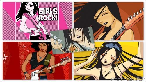 theme windows 7 - themepack Microsoft - Girls Rock