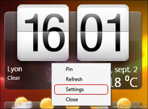HTCHome - Horloge HTC SENSE pour Windows 7 et Vista - Menu